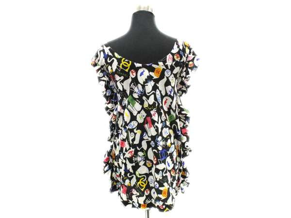 c74f5cde768a2 CHANEL Frill Tops Cotton Black White Size  40 07P P30592 France Auth 4949503