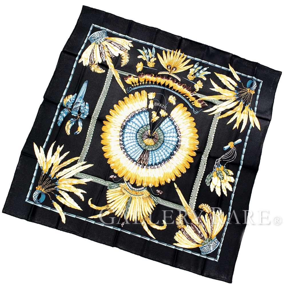 エルメス スカーフ カレ90 ブラジル BRAZIL シルク HERMES シルクスカーフ【安心保証】【中古】
