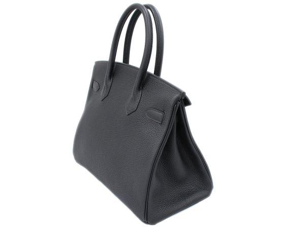 Hermes Birkin 30cm Handbag Black X Silver Tool トゴ C Carved Seal Bag
