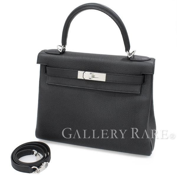 エルメス ハンドバッグ ケリー28 cm 内縫い ブラック×シルバー金具 トゴ C刻印 HERMES Kelly バッグ
