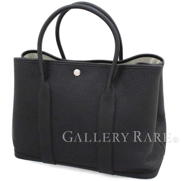 エルメス トートバッグ ガーデンパーティPM ブラック×シルバー金具 ネゴンダ C刻印 HERMES Garden Party バッグ