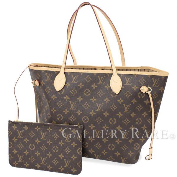 8c71a7ee529e LOUIS VUITTON Neverfull MM W Pouch Monogram Beige Tote Bag Authentic 4983514