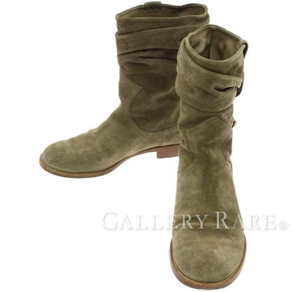 ルイヴィトン ハーフブーツ スエード レディースサイズ38 1/2 LOUIS VUITTON 靴 ローヒール【安心保証】【中古】