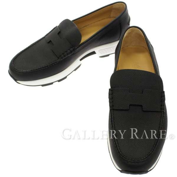 エルメス シューズ オーパス Opus モカシン ドライビングシューズ メンズサイズ 42 HERMES 靴 ローファー 黒 Hロゴ ソルド品【安心保証】【中古】