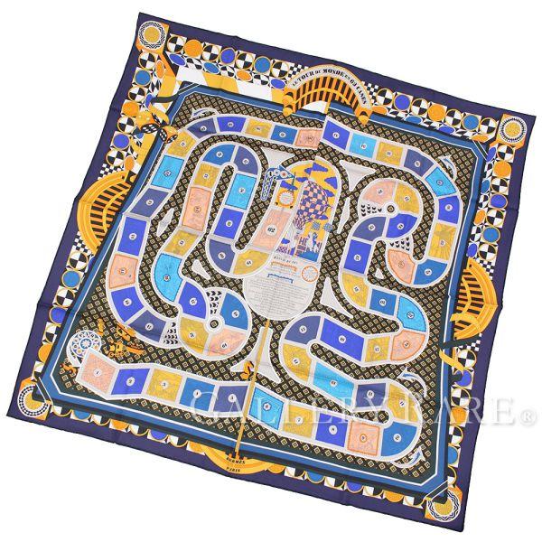 エルメス スカーフ カレ90 63マスの世界旅行 Le Tour Du Monde En 63 Cases HERMES シルク 2018年秋冬コレクション ボードゲーム【安心保証】【中古】
