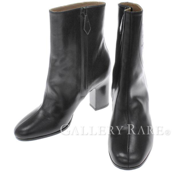 エルメス ショートブーツ サイドジップ レディースサイズ 35 HERMES 靴 ブラック ブーツ ロゴ【安心保証】【中古】
