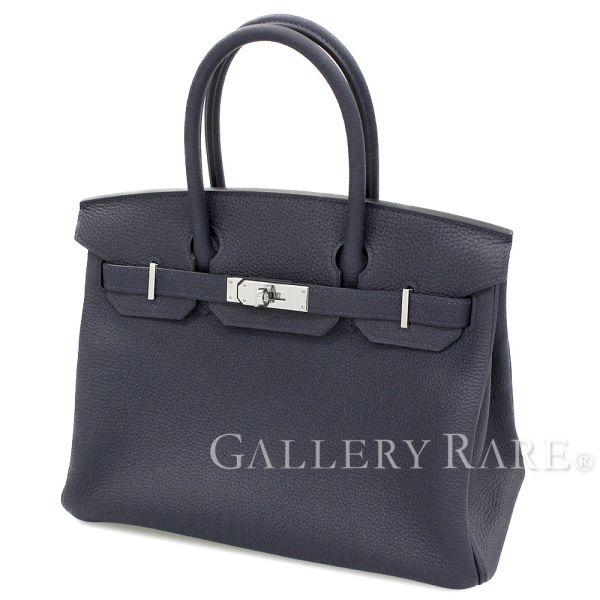 エルメス バーキン30 cm ハンドバッグ ブルーニュイ×シルバー金具 トゴ C刻印 HERMES Birkin バッグ