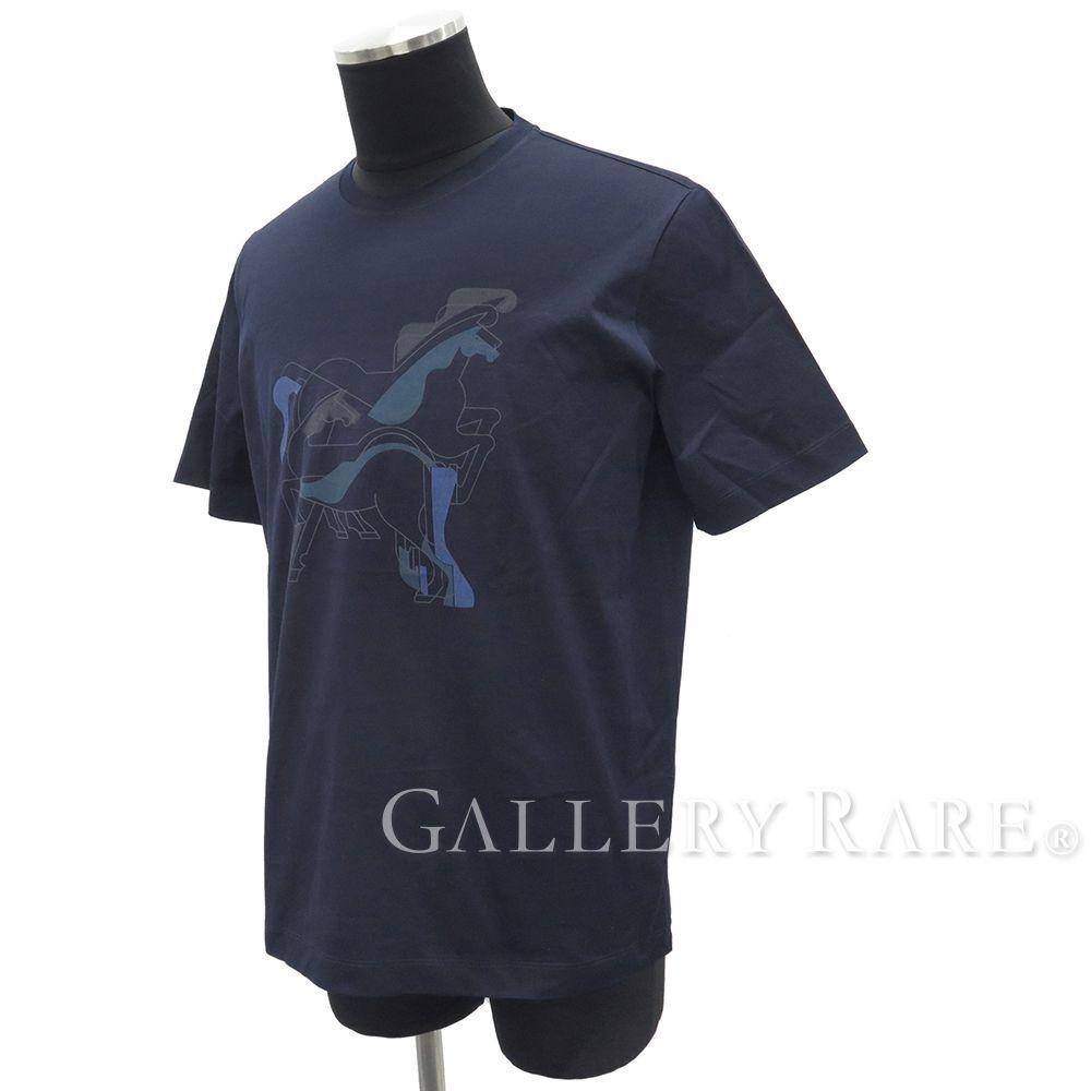 エルメス Tシャツ ブラジリアンホース コットン マリーン メンズサイズM HERMES 半袖シャツ カットソー【安心保証】【中古】