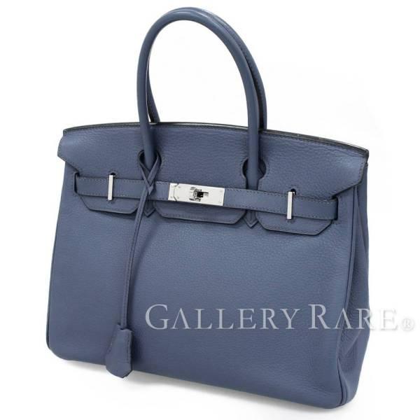エルメス バーキン30 cm ハンドバッグ ブルー×シルバー金具 トリヨンクレマンス J刻印 HERMES Birkin バッグ