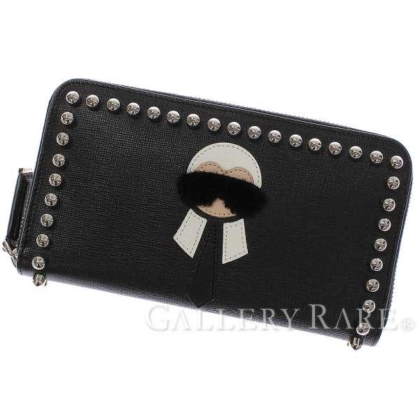 281eed67c49b FENDI Zip Around Wallet Karlito Calf Leather Black Men s 8M0299 Auth 5068609
