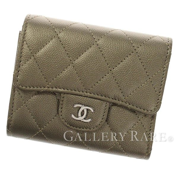 6a3c77fff7d7 CHANEL Classic Small Flap Wallet Caviar Leather Kahki Matelasse Auth  5107438 ...