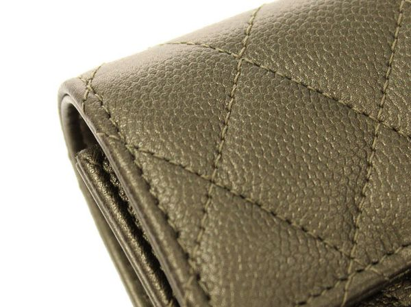 795e21864587 ... CHANEL Classic Small Flap Wallet Caviar Leather Kahki Matelasse Auth  5107438 ...