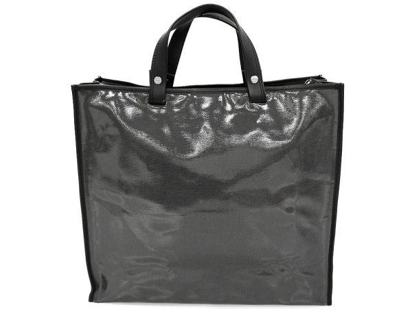 d85271992006 Salvatore Ferragamo Tote Bag Vinyl Gray Black GA-24 7245 Italy Authentic  5101146