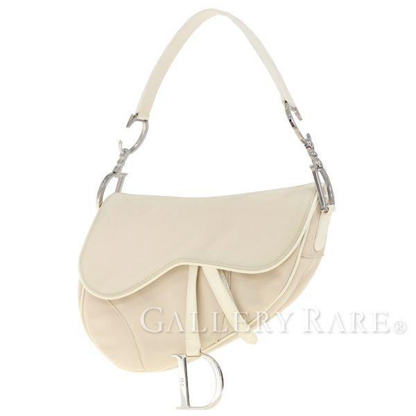 5a7916c3295 Christian Dior Saddle Bag Nylon Beige Shoulder Bag Italy Pouch Authentic  5101474 ...