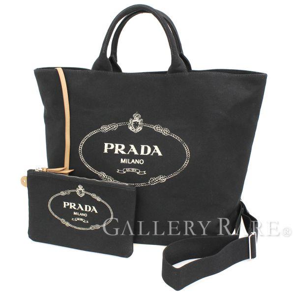 043eed6d7154 PRADA Canapa Shopping Cotton Canvas Black 1BG161 Tote Bag Authentic 5101528