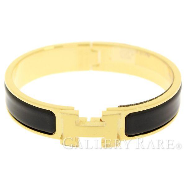 d9d590e6eb5 HERMES Clic H PM Enamel Black Bangle Bracelet France Accessory Authentic  5147939 ...