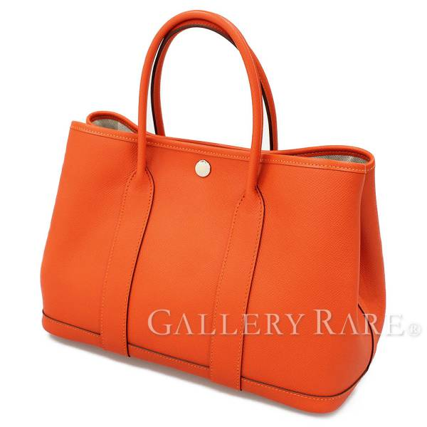 0ecdb21932c1 HERMES Garden Party TPM Tote Bag Epsom Leather Feu  C France Authentic  5164097