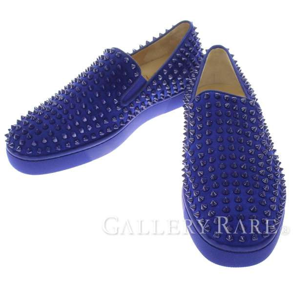 0e3160ec3e1 Christian Louboutin Roller-boat Studded Shoes Navy 1140226  41 Authentic  5172030
