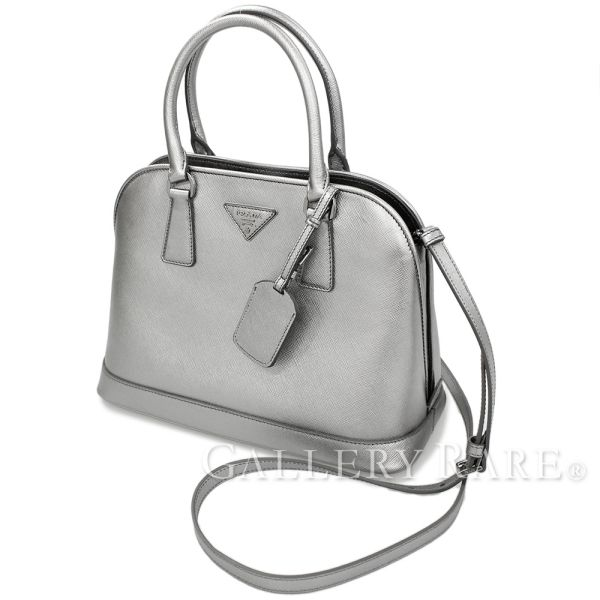 PRADA Handbag Saffiano Lux Silver BN2567 Handbag 2Way Italy Authentic  5189861