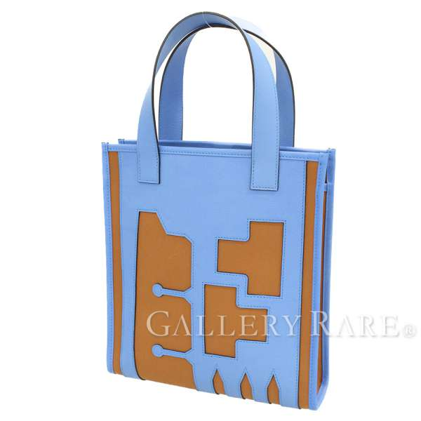 45421e9bb2 HERMES Petit H Tote Bag Evercolor Leather Toile Officier Blue Authentic  5200375 ...