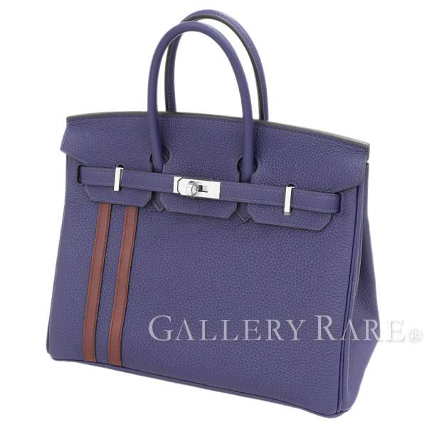 Attributive コレクションオフィシエ length stripe by color for Hermes Birkin 25cm  officer handbag blue ankle X Bordeaux X silver metal fittings トゴ X ヴォー ... bc95633f27ef3