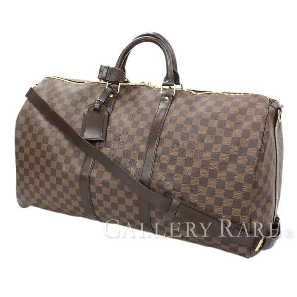 LOUIS VUITTON Keepall Bandouliere 55 Damier Ebene Boston Bag Authentic  5224791 b1c563e93d5bd