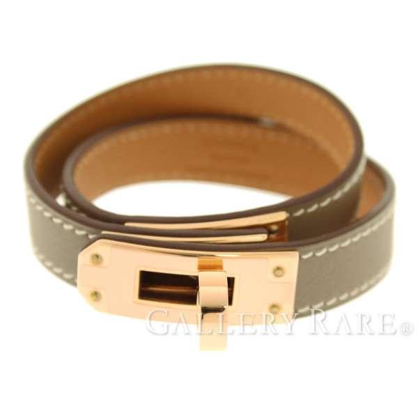 2ae856bb760 HERMES Kelly Double Tour Bracelet Veau Swift Etoupe T2  A Authentic 5232017