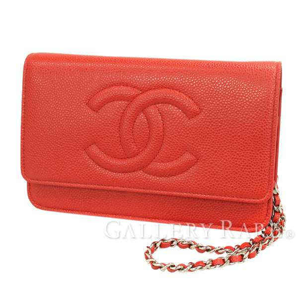 47ae430266ae5c CHANEL Chain Wallet Caviar Leather Red A48654 CC Logo Italy Authentic  5234141