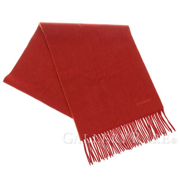 efd3cffe651 HERMES Echarpe Reversible Scarf Cashmere Brique Stall Italy Authentic  5250639
