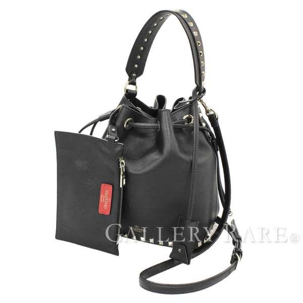 8fc4c6dff11 VALENTINO Handbag Leather Black 2Way Rockstud PW2B0B04BOL Authentic 5253449  ...