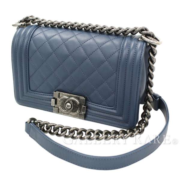 8beabfe61327 CHANEL Small Boy Handbag Leather Navy A67085 Shoulder Bag Authentic 5259205  ...