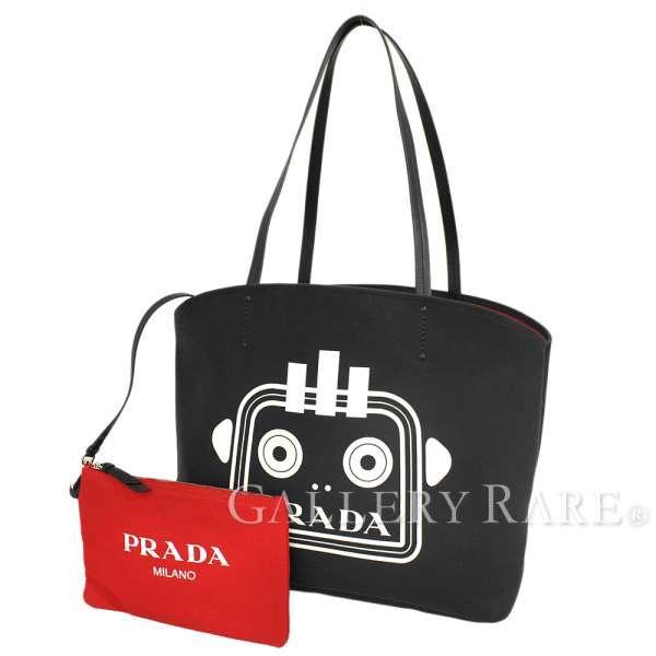 7d77b1c1c5d0 Prada tote bag robot 1BG220 PRADA autumn of 2018 winter black black red  canvas leather porch