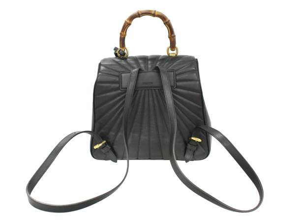 8643e96e60f GUCCI Queen Margaret Bamboo Leather Black Backpack 476664 Authentic 5260287