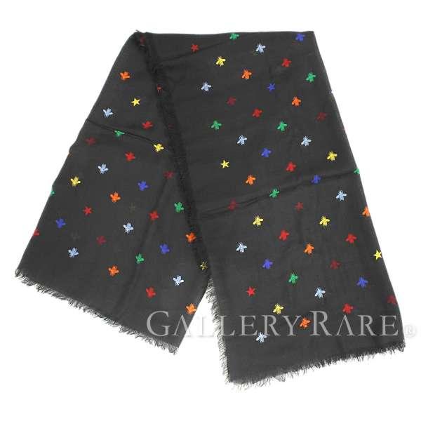 47c3df9180e5 GUCCI Stole Wool Silk Black Bee Star Fringe Accessory Italy Authentic  5269341