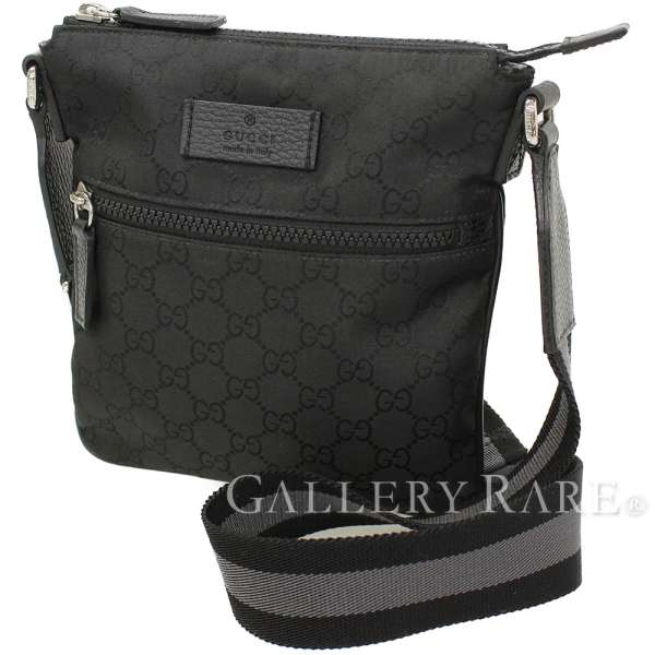 a12aa41280f GUCCI Shoulder Bag Nylon GG Canvas Black Pouch 449183 Italy Authentic  5269402