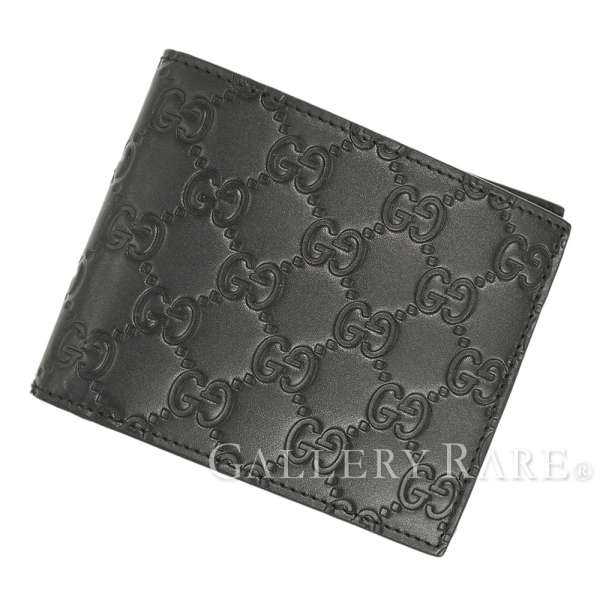 dbe3f5a2bef5 GUCCI Guccissima Leather Black Wallet Card Holder 406693 Italy Authentic  5269426