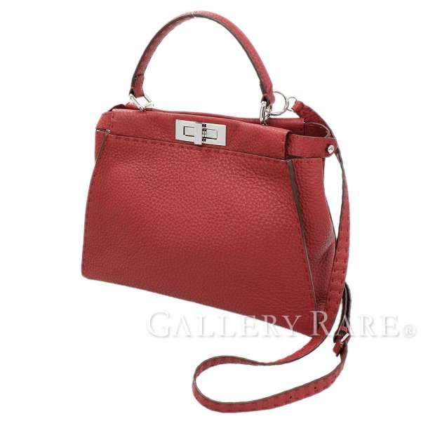 73bfad6970 FENDI Peekaboo Regular Roman Leather Red Handbag 2Way 8BN226 Authentic  5266159