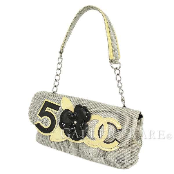 d6b7132e593e CHANEL Chain Bag Canvas Beige Black Camellia CC Flower Italy Authentic  5268962 ...