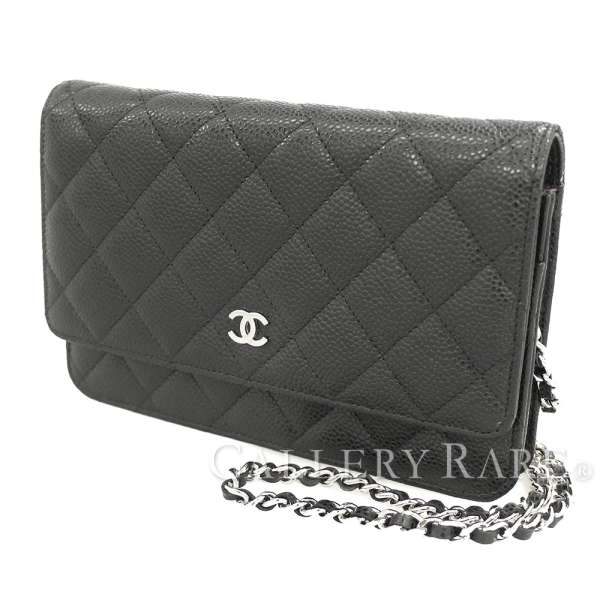 2bd769830247 CHANEL Chain Wallet Caviar Leather Black Matelasse CC A33814 Authentic  5271337 ...