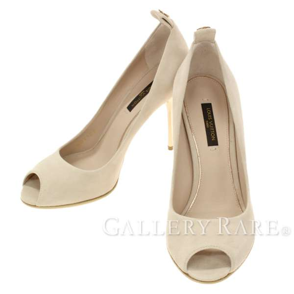 93339f176b7f LOUIS VUITTON Pumps Suede Beige Gold Heels Size 36 1 2 Italy Authentic  5274185
