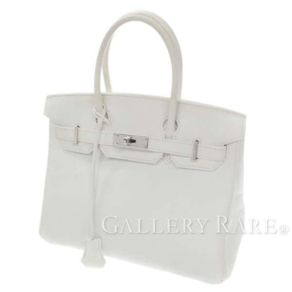 44d5c9e9170d Hermes Birkin 30cm handbag white X silver metal fittings ヴォーエプソン K carved  seal HERMES Birkin bag white