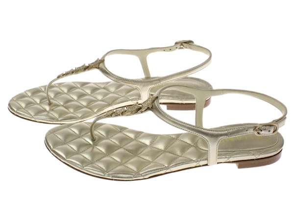 b89423100 ... CHANEL Thong Sandals Lambskin Light Gold Size 38 G30222 Italy Authentic  5294015 ...