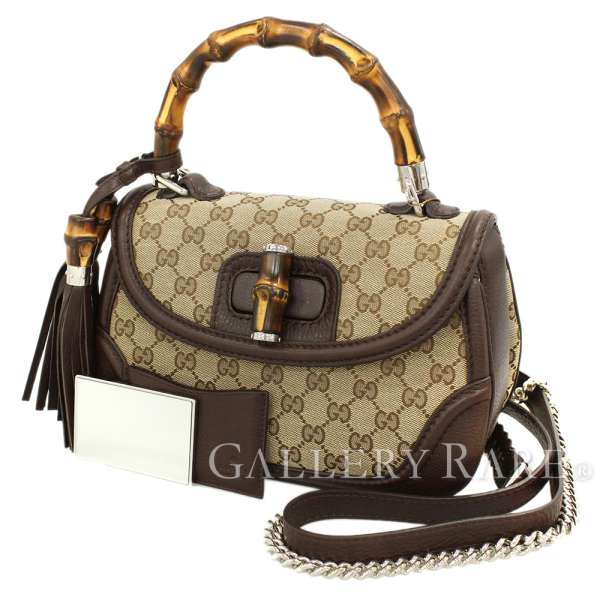 8c63af5058e GUCCI New Bamboo Canvas Leather Beige Handbag 2Way 240242 Authentic 5294077