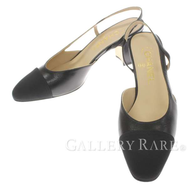 d6df33a2931 Chanel pumps slingback shoes here mark black goat skin grosgrain G31318 CHANEL  shoes Lady s size 37 1 2
