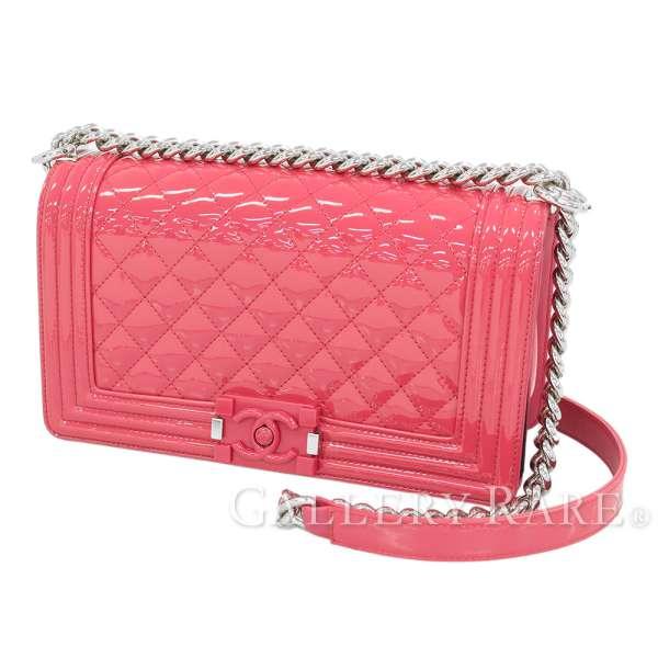 3f326e5e1c7a CHANEL Boy Chanel Matelasse 25 Pink Patent Shoulder Bag A67086 Authentic  5301850 ...