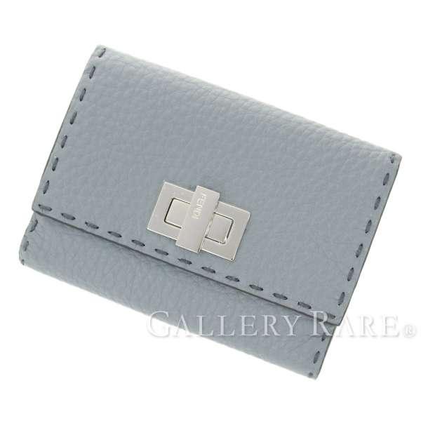フェンディ 二つ折り財布 セレリア ミディアム ウォレット 8M0359 ターンロック ローマンレザー FENDI 財布 Wホック【中古】