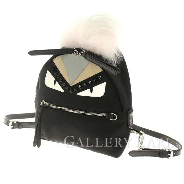 ab80d1cb32ea FENDI Monster Backpack Mini Nylon Mesh Leather Black 8BZ038 Authentic  5306244