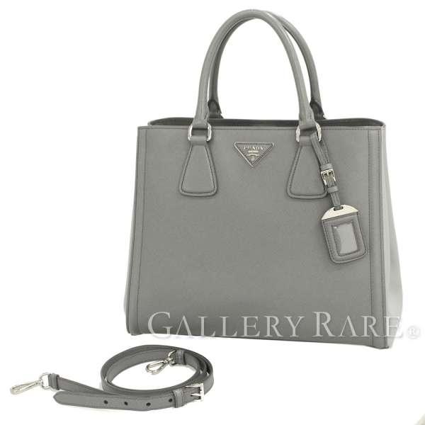 0850bed6f72c PRADA Handbag Saffiano Lux Embossed Calf Leather Gray BN2438 Authentic  5312405