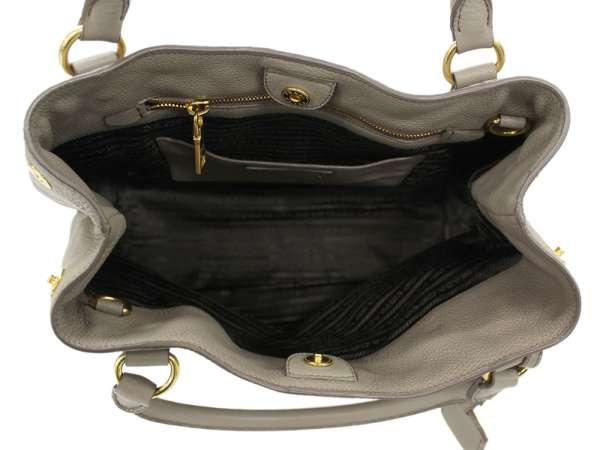 78ffe3186456 PRADA Handbag Vitello Daino Calf Leather Gray BN2534 2Way Bag Authentic  5322459