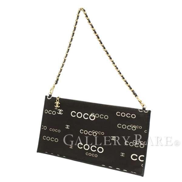 8b9c3e17860 CHANEL Clutch Bag COCO Print Canvas Black Chain Bag CC Logo Authentic  5323982 ...